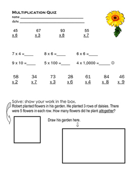 Multiplication Quiz with Regrouping