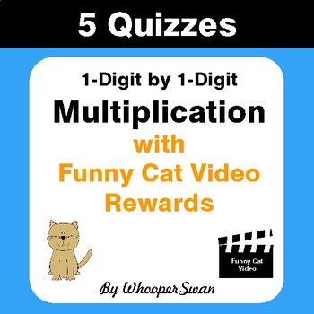Multiplication Quizzes with Funny Cat Video Rewards (1-Digit by 1-Digit)