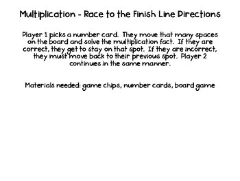 Multiplication - Race to the Finish Line!