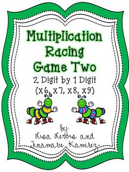 Multiplication Center Game Caterpillars~2 Digit by 1 Digit {x6 through x9}