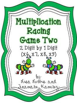Multiplication Center Game Caterpillars~2 Digit by 1 Digit