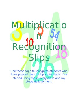 Multiplication Recognition Slips