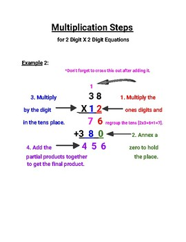 Multiplication Poster/Aid ( Steps for 2 Digit x 2 Digit Problems)