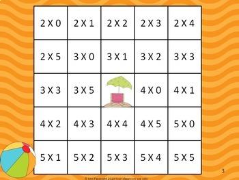 Multiplication Reverse Bingo Bundle Color Games