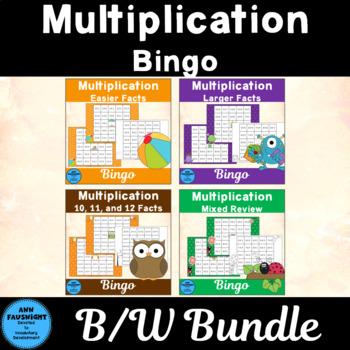Multiplication Reverse Bingo Bundle Games In Black and White