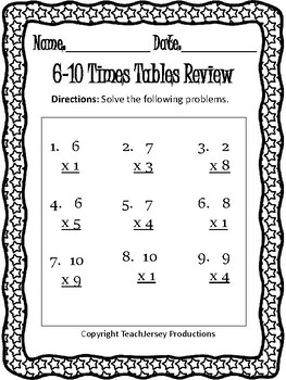 Multiplication Review 6-10 Times Tables