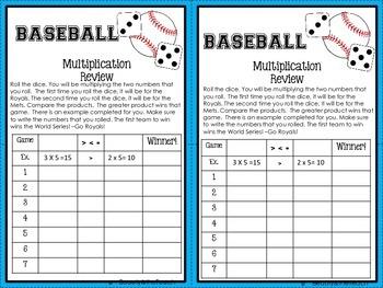 Multiplication Review- Baseball Theme