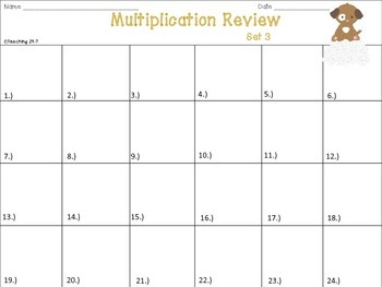 Multiplication Review (Multiples of 10 - Set 3)