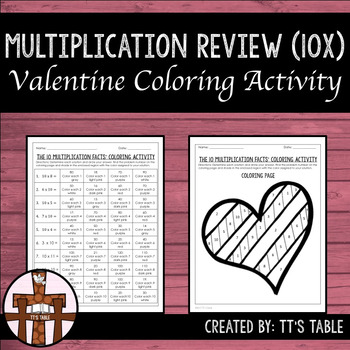 Multiplication Review Valentine Coloring Activity 10X