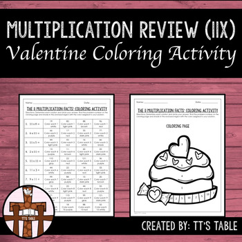 Multiplication Review Valentine Coloring Activity 11X