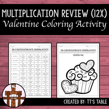 Multiplication Review Valentine Coloring Activity 12X