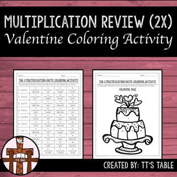 Multiplication Review Valentine Coloring Activity 2X