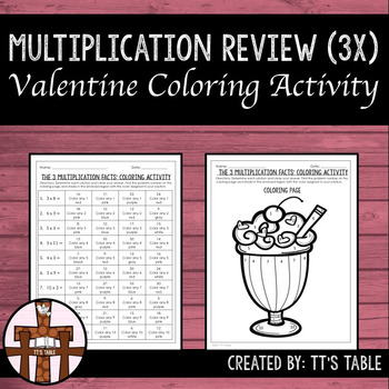 Multiplication Review Valentine Coloring Activity 3X