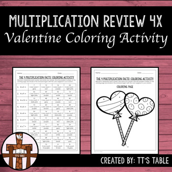 Multiplication Review Valentine Coloring Activity 4X