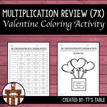 Multiplication Review Valentine Coloring Activity 7X