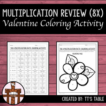 Multiplication Review Valentine Coloring Activity 8X