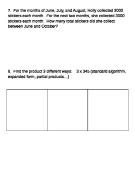 Multiplication Review (Word Problems, Multi-Step, Single Digit Multiplication)