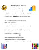 Multiplication Review Worksheets- Estimating, Distributive Property
