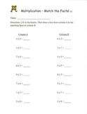 Multiplication Review Worksheets - Match the Facts!