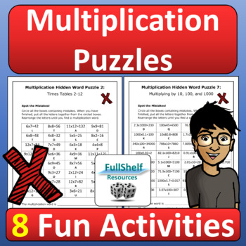 Multiplication Review Worksheets Puzzles By Fullshelf Resources