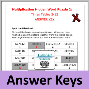 Multiplication Review Worksheets (Puzzles)