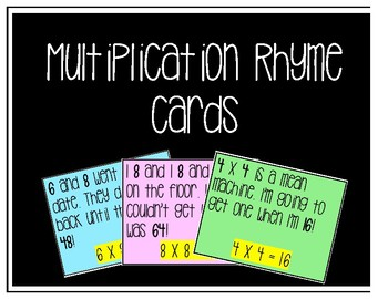 Multiplication Rhyme Cards