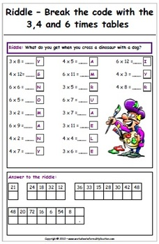 graphic regarding Printable Riddles named Multiplication Riddles - Enjoyment Printable Worksheets