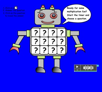 Multiplication Robot, Interactive Smartboard Game and Printable Flashcards