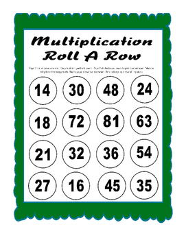 Multiplication Roll A Row Game