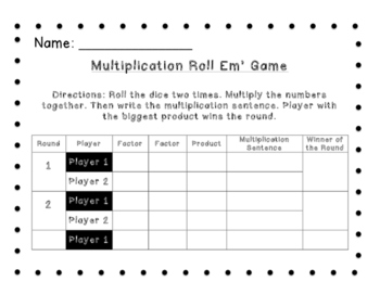 Multiplication Roll 'Em