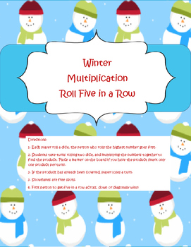 Multiplication Roll Five in a Row