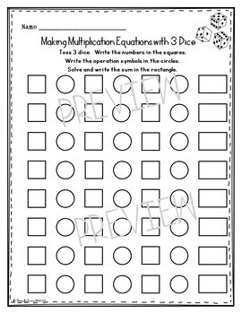Multiplication Roll an Equation Dice Activity