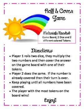 Multiplication Roll and Cover Game.  Rainbow.  Dice Math Review Game.  Center