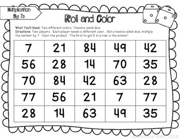 Multiplication Roll and Cover Games