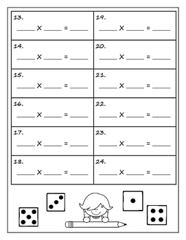 Multiplication Roll and Write Center Game