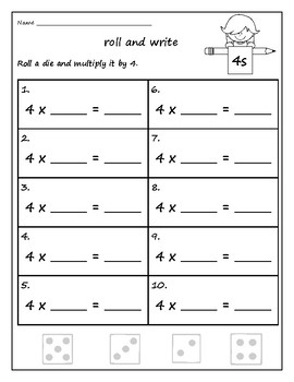 Multiplication Roll and Write Math Facts 1-10