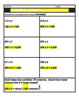 Multiplication Rounding, Estimating, Problem Solving