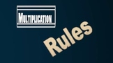 Multiplication Rules (For integers)