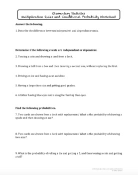 Multiplication Rules and Conditional Probability (Lesson Plan with Homework)
