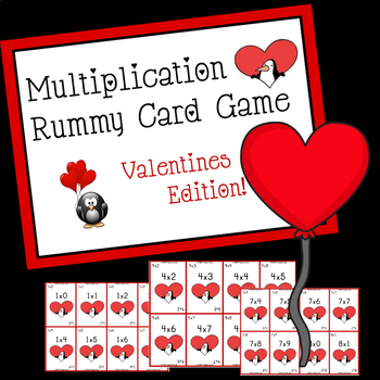 Multiplication Rummy - Valentine Themed Card Game (Facts 0 - 10)