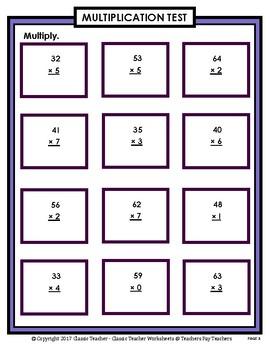 2-Digit by 1-Digit Multiplication SET #1: Regrouping-Grades 4-5 (4th-5th Grade)