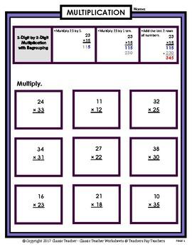 2-Digit by 2-Digit Multiplication SET #1: Regrouping-Grades 5-6 (5th-6th Grade)