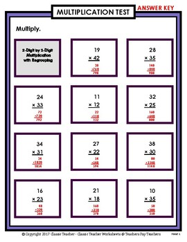 2-Digit by 2-Digit Multiplication SET #1: Regrouping-Grades 4-5 (4th-5th Grade)