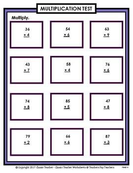 2-Digit by 1-Digit Multiplication SET#2: Regrouping-Grades 4-5 (4th-5th Grade)