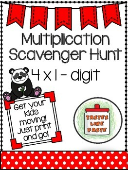 {FREEBIE} Multiplication Scavenger Hunt: 4x1 -digit