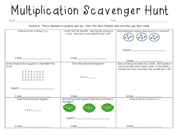 Multiplication Scavenger Hunt Game
