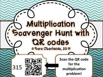 Multiplication Scavenger Hunt - with QR codes