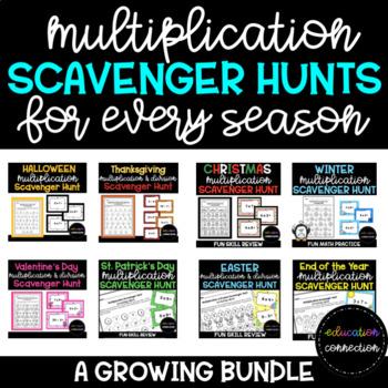 Multiplication Scavenger Hunts for Every Season A GROWING BUNDLE