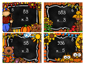 Multiplication Scoot! 1 digit by 2 digits and 1 digit by 3 digits Fall Theme