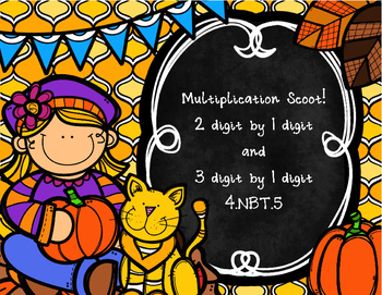 Multiplication Scoot! 1 digit by 2 digits and 1 digit by 3